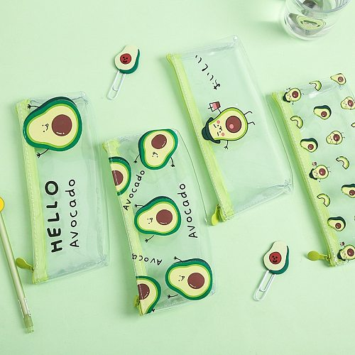 1 Pc Kawaii Pencil Case Cute Avocado Kids Gift School Pencil Box Pencilcase Transparent Pencil Bag School Supplies Stationery