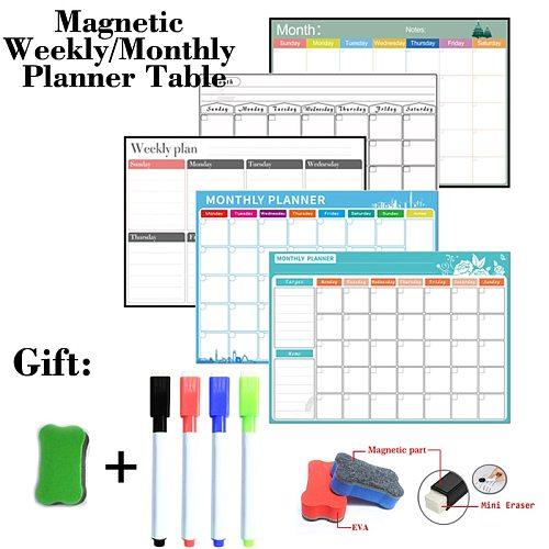 Magnetic Weekly Monthly Planner Table Dry Erase Whiteboard Fridge Sticker Bulletin Board 297MM*420MM Size Gift 4 Pen 1 Eraser
