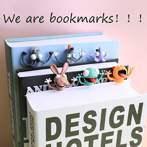 Original Cute Cat Bookmark 3D Stereo Cartoon Marker Animal Bookmarks PVC Material Funny Bookmark Student School Stationery Gift