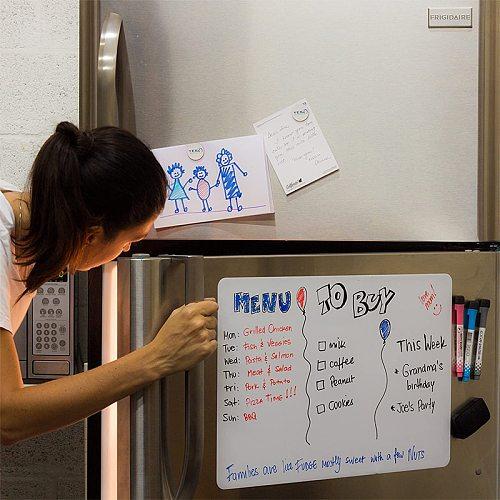 Magnetic Whiteboard Fridge Sticker Dry Erase White Board Planner Calendar Wall Sticker Message Boards A4 Size