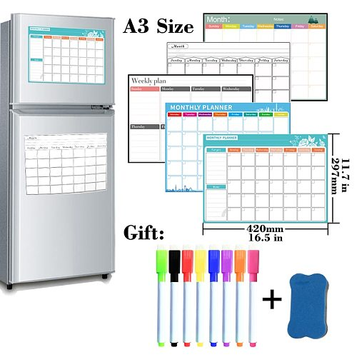 A3 Size Magnetic Monthly Weekly Planner Calendar Table Dry Erase Calendar Whiteboard Schedules Fridge Sticker Message Board