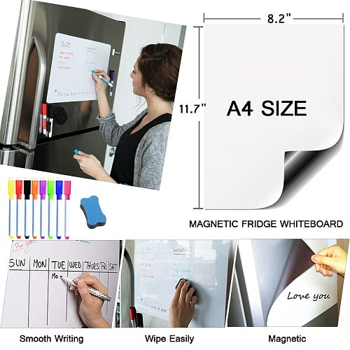 Magnetic White Board A4 Size Teaching Practice Dry Erase Whiteboard Markers Writing Memo Bulletin Dry Erase Board Fridge Sticker