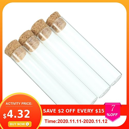 Newest 5pcs/set Mrosaa Transparent Lab Glass Test Tube With Cork Stoppers Flat 20*100mm Laboratory School Educational Supplies