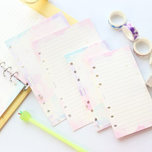 Domikee cute creative gold foil stars pattern 6 rings refillable notebooks inner paper sheets stationery supplies A5A6 40sheets