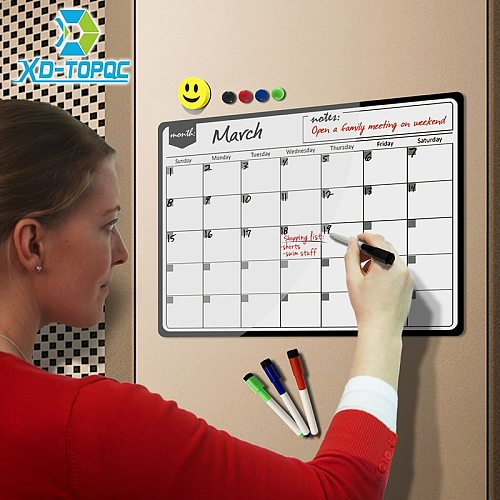 New Monthly Planner Magnetic Calendar Whiteboard Dry Wipe White Board Fridge Magnet 30*40cm Flexible Message Board For Notes