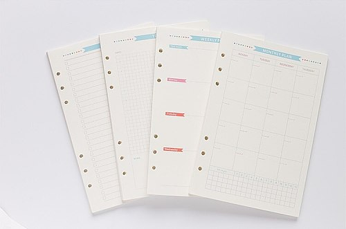 6 Holes Loose Leaf Notebook Spiral Planner Refill Inner Paper A5 A6 Pages Diary Weekly Monthly Plan To do List for Filofax