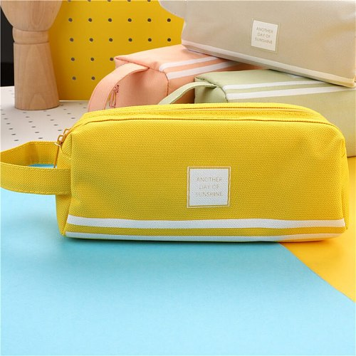 Large capacity canvas pencil case double school pencil case stationery bag storage bag