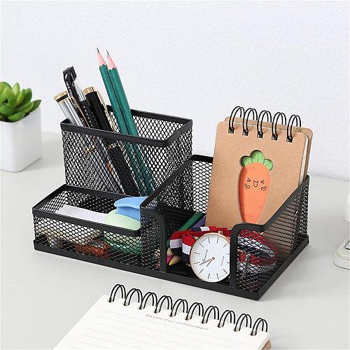 Creative Metal Pen Holder Pencil File Storage Rack 3 Grid Storage Box Desktop Stationery Organizer escritorio Office accessories
