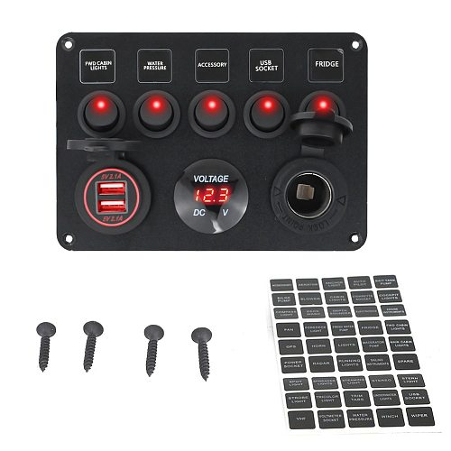 Boat Switch Panel Car Switch Panel Waterproof Digital Voltmeter Dual USB Port 12V Outlet Combination Marine LED Rocker 5 Gang