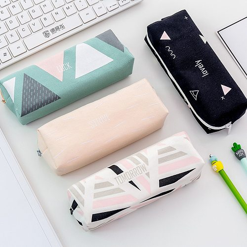 Sample Canvas pencil case for school Cute Geometric Big capacity pencilcase pen bag box Stationery pouch school supplies