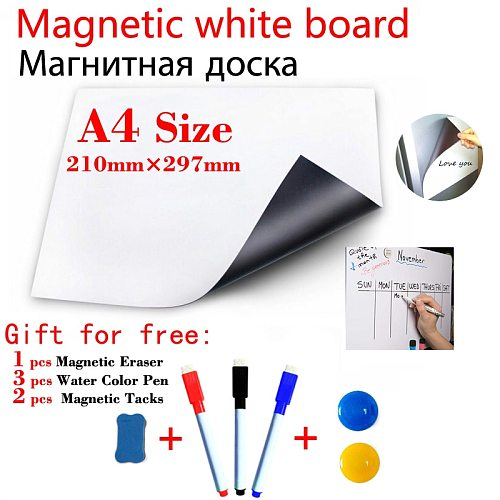 A4 Size Magnetic Whiteboard Kitchen Fridge Sticker Magnets Presentation Message Boards Gift 3 Pen 1Eraser 6 Magnetic Tacks