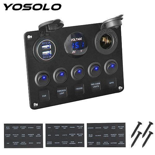 YOSOLO Digital Voltmeter Dual USB Port 12V Outlet Combination Waterproof Car Marine LED Rocker Switch Panel