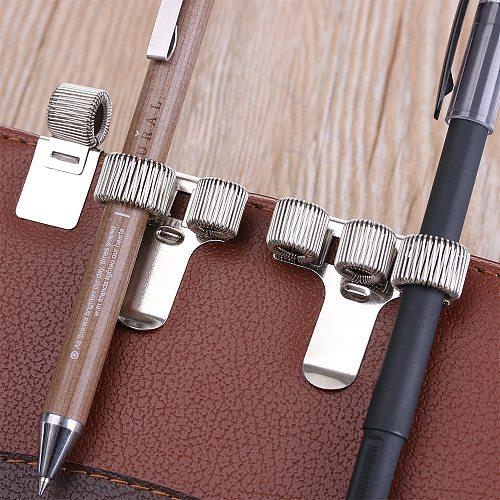 1PC Office School Supplies Single/Double/Triple Hole Metal Spring Pen Holder With Pocket Clip Doctors Nurse Uniform Pen Holders
