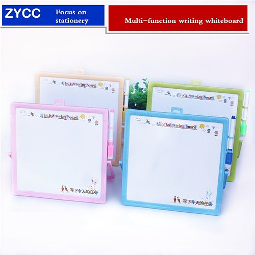 Multi-function Message Whiteboard 23*23cm Erasable children drawing board With Teaching  Clock