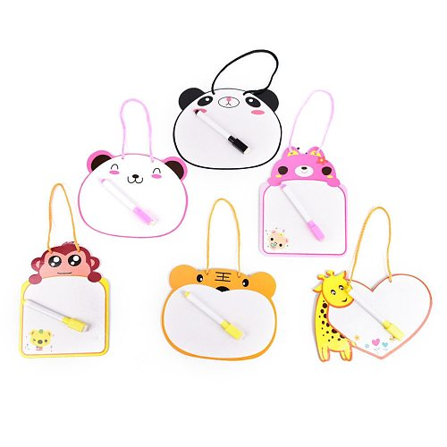 1Pcs Writing Tablet Kids Whiteboard Cartoon Animal One Piece Dry Wipe Cardboard Drawing Kid White Board Hanging With Pen