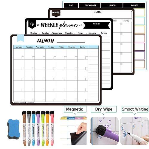 Magnetic Weekly Monthly Planner Calendar Dry Erase Fridge Board Erasable Memo Messages Door Board Stickers Writing Template 2021