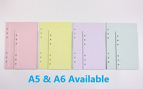 A5 A6 Colorful Refill Inner Pages Rechange Paper for Organizer Notebook Planner Filofax 100g 6 Holes Loose Leaf