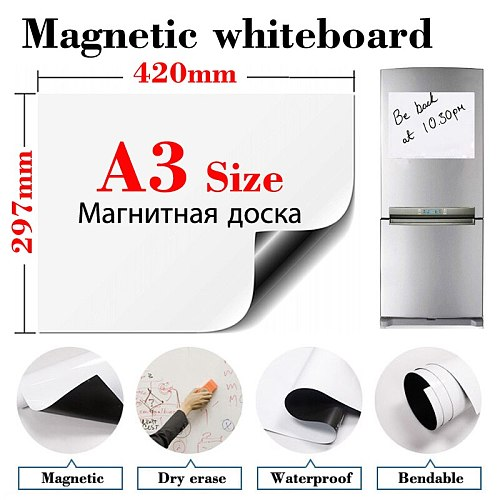 A3 Size Magnetic Fridge Stickers Whiteboard Office Home Kitchen Message Board Dry Erase Bulletin White Board Whiteboard for Kids