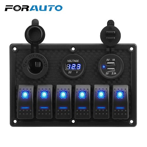 5/6 Gang Rocker Switch Panel With Fuse 4.2A Dual USB Slot Socket Digital Voltage Display for Marine Boat Car Truck Waterproof