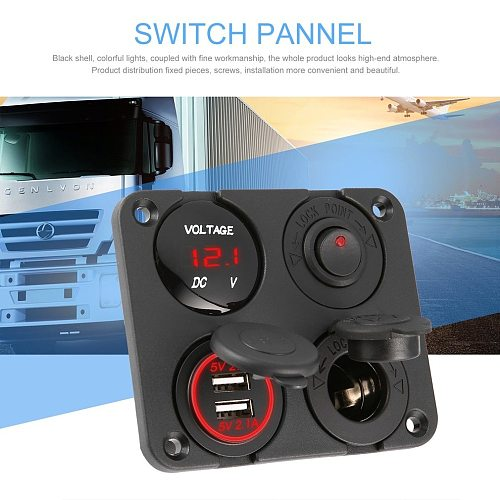 New Dual USB Ports Car Charger + LED Voltmeter + 12-24V Power Socket + On-Off Switch 4 in 1 Car Marine Boat LED Switch Panel