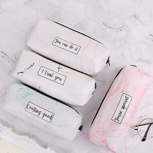 Marble Pencil Case Stationery School Supplies Storage Pencil Cases School Tools