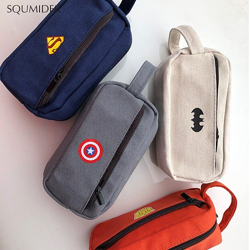 SQUMIDER Superhero Canvas Pencil Case Creative Large Capacity Side Open Zipper Pencil Bag School Stationery