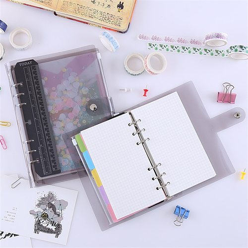 Kawaii PVC Loose-leaf Notebook Cover A5/A6 Rainbow Hand-book DIY Transparent Coil Sprial Books Cute Agenda 2021 Journal Planner