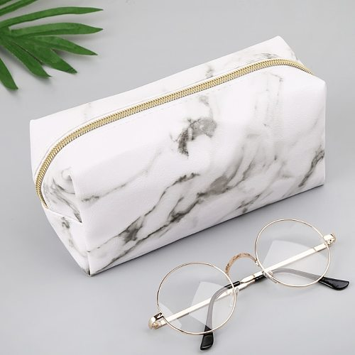 Large Cute Pencil Case Pen Box Zipper Bags Marble Makeup Storage Supplies 1014