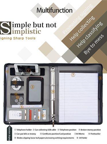 A4 Document Folder organizer PU Leather Zipper Ring Binder Conference Bag Business Briefcase padfolio Portfolio with Handle