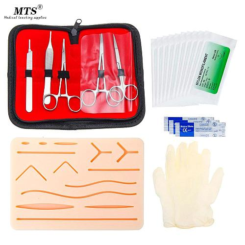 MTS Medical student Skin Surgical Suture Training kit Full set medical  instrument Scalpel Suture needle Needle clamp