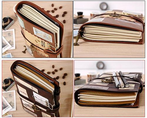Leather Traveler Notebook Planners Creative DIY Vintage Travel Journal Notepads TN Sprial Recording Daily Memos Notebooks Gifts
