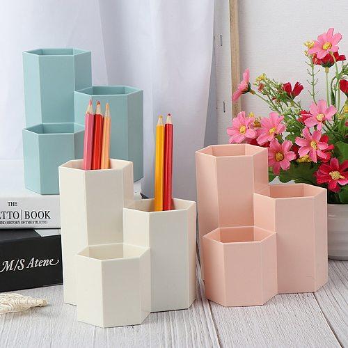 3 colors Home Office Hexagonal Pen Pencil Holder Pen Storage Cosmetic Makeup Storage Box Desk Drawer Organizer