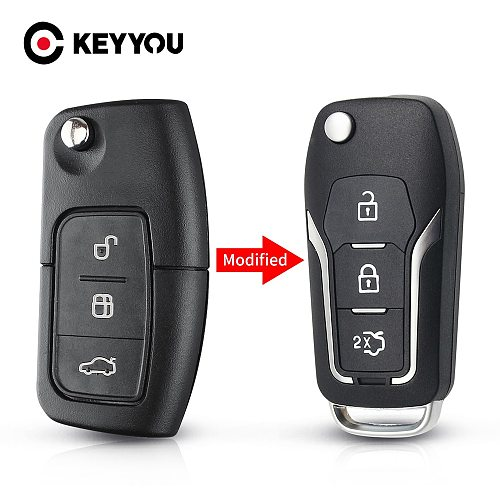 KEYYOU 3 Button Modified Flip Folding Remote Control car Key Shell Case for Ford Focus 2 3 mondeo Fiesta key Fob Case