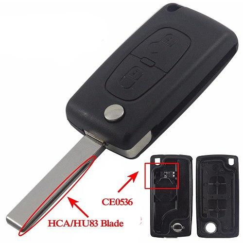 jingyuqin Car Key Shell HU83 CE0536/523 For Peugeot 107 207 307 407 308 408 Partner Citroen C3 C4 C5 C6 Berlingo Picasso Xsara