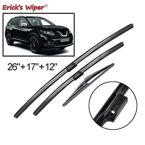 Erick's Wiper Front & Rear Wiper Blades Set For Nissan X-Trail T32 Rogue 2 2013 - 2019 Windshield Windscreen Window 26 17 12