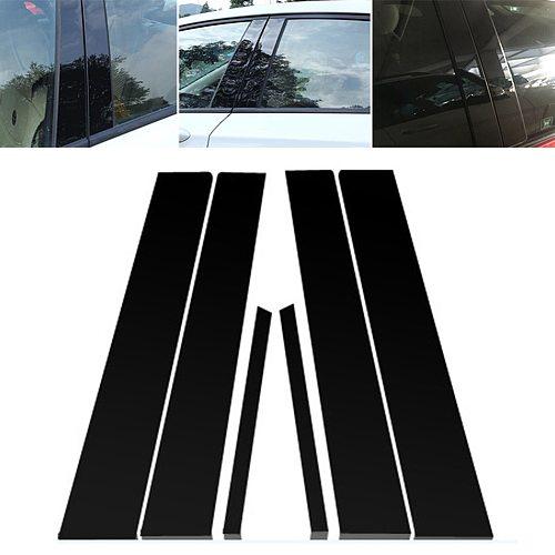 6PCS Mirror Window Pillar Posts Trim For Honda Civic 2006-11 Mirror Window Pillar Post Cover Trim  car window BC column sticker