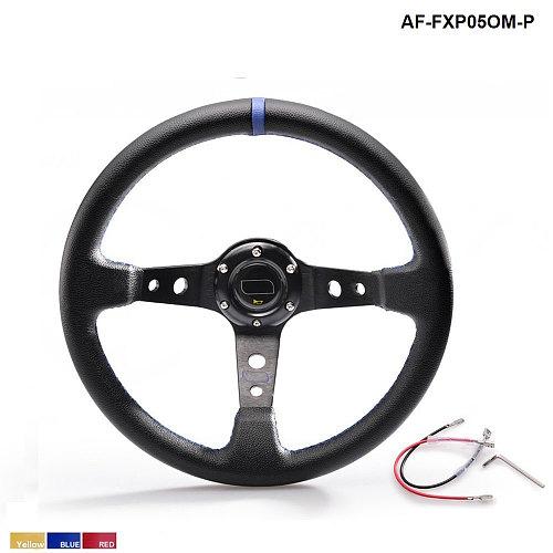 350MM PVC Deep Dish Drifting Sport Racing Steering Wheel  Aluminum Frame ( yellow red blue ) AF-FXP05OM-P