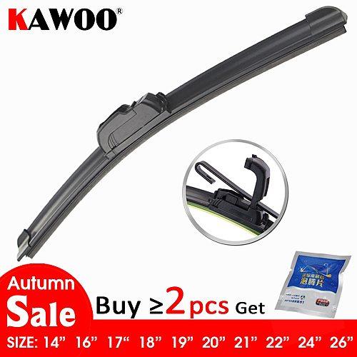 KAWOO Universal Car Wiper Blade J-Hook Soft Frameless Bracketless Rubber Car Windshield Wipers 14 16 17 18 19 20 21 22 24 26
