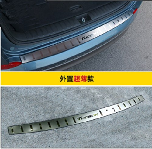 for 2015-2018 Hyundai Tucson Ultra-thin car stainless steel Rear Bumper Protector Sill Trunk Rear guard Tread Plate Car styling