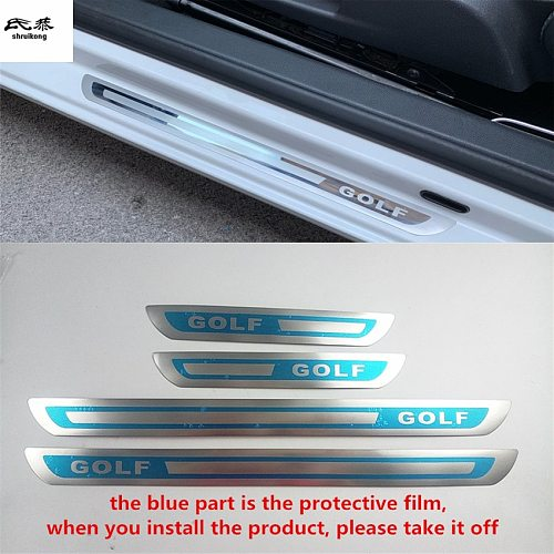 Free shipping 4pcs/lot ultra-thin Stainless Steel Door Sill pedal Scuff Plate for 2008-2017 VW Volkswagen Golf 6 MK6 Golf 7 MK7