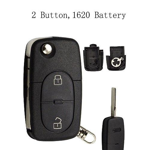 OkeyTech 2/3 Button Flip Folding Car Key Shell Cover Case Fob CR1620 CR2032 Battery Holder HAA For Audi TT A2 A4 A6 A8 Quattro