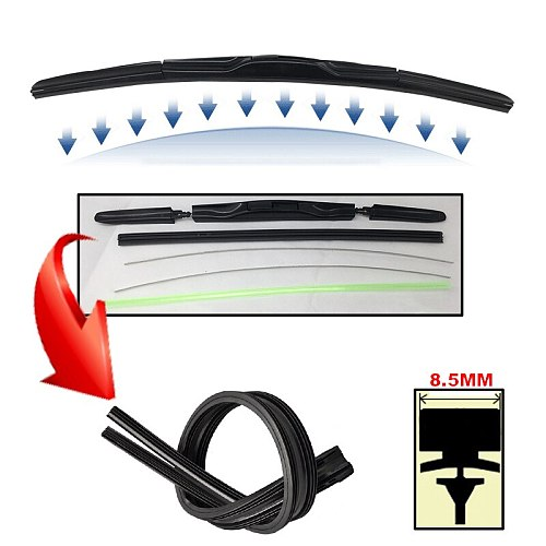 2Pcs/lot AAA-Grade Car Auto Vehicle Soft Rubber Refills For Front Windshield Hybrid Wiper Blades 8.5mm 14 15 16 18 20 22 24 26