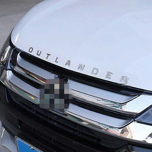 For Mitsubishi Outlander ABS Chrome Car 3D Letters Hood Emblem Logo Badge Car Stickers Styling Car Accessories Wording 3D Letter