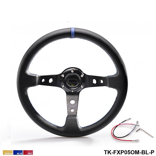 350MM PVC Racing Aluminum Frame Light Weight 6-Hole Steering Wheel Modified Jdm Sport (Yellow Red Blue) TK-FXP05OM-P