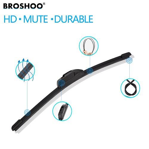 BROSHOO Universal U HOOK Auto Car Wiper Blades 14 16 17 18 19 20 21 22 24 26  Natural Rubber Strip Windscreen Windshield