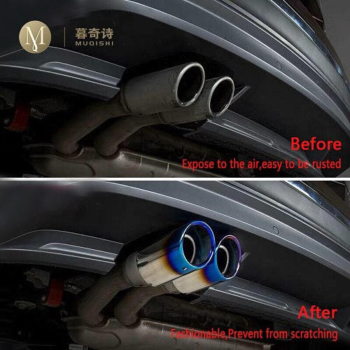 For Volkswagen Tiguan 2 2019 2020 2018 Exclusive Car Styling S'Steel Exhaust Muffler Tip Tail Pipe Trim Auto Accessories 1.4T