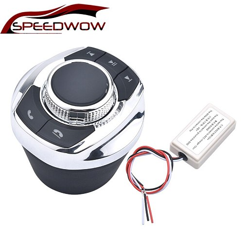 SPEEDWOW Car Wireless Steering Wheel Control Button New Cup Shape With LED Light 8-Key Functions For Car Android Navigation Play
