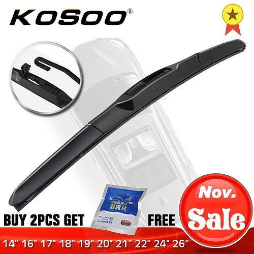 KOSOO Wiper Blade U hook Universal Car Natural Rubber Auto Windshield Wipers 14 16 17 18 19 20 21 22 24 26  Hybrid Accessories
