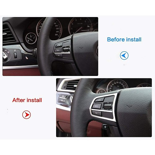 Fit for BMW F10 5 Series 525I 520I Car 2Pcs Left and Right Steering Wheel Button Cover Trim+1Pc U Type Car Styling Sticker ABS