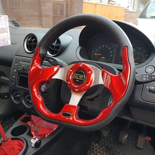 Universal 320mm 12.5inch PU steering wheel leather steering wheel Aluminum Frame Light Weight Modified sports steering wheel